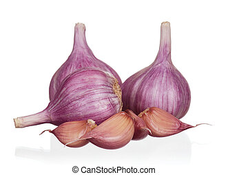 Fresh garlic - Fresh young garlic isolated on white...