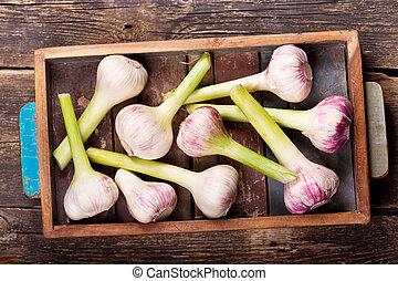 fresh garlic in a wooden box