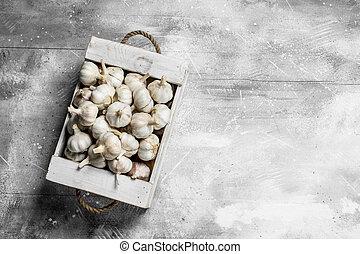 Fresh garlic in the box.