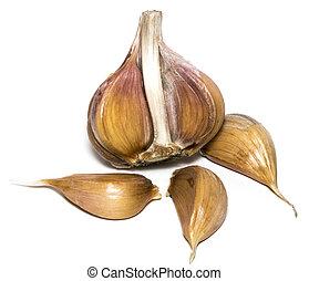 Fresh garlic isolated on white background close-up