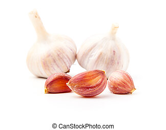 Fresh garlic isolated on white background