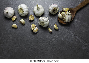 Fresh Garlic sliced and garlic bulb with copy space concept of food and healthy.