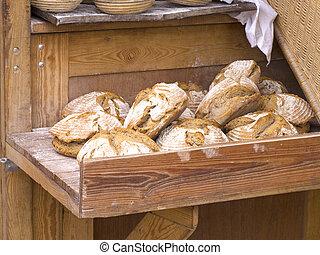 farmhouse bread - fresh german whole meal farmhouse bread in...