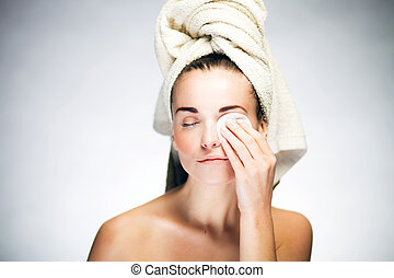 Fresh girl cleaning face with cotton swab - Healthy fresh ...