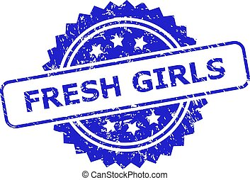 FRESH GIRLS Blue Rosette Stamp with Corroded Style