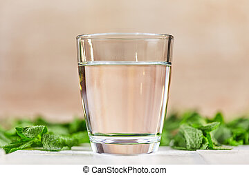Fresh glass of water with mint on table