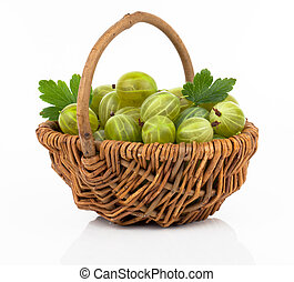 fresh gooseberry in a wicker basket, on a white background