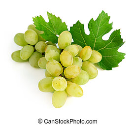 fresh grape fruits with green leaves
