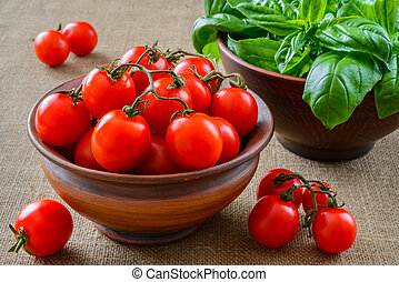 Fresh grape tomatoes with basil