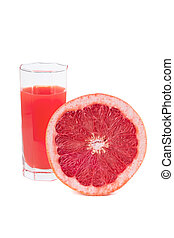 Fresh grapefruit juice in glass