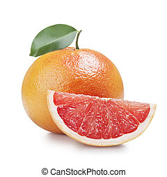 grapefruit - fresh grapefruit with leaves isolated on white...