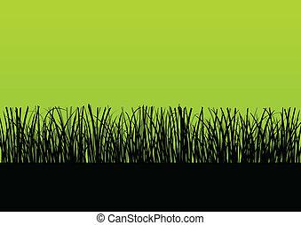 Fresh grass landscape detailed silhouette illustration background vector for poster