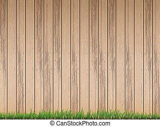 fresh grass over wood fence background - fresh spring green...