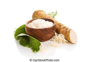 Fresh grated horseradish roots on white. - Fresh grated ...
