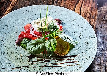 Fresh Greek salad in a bowl,