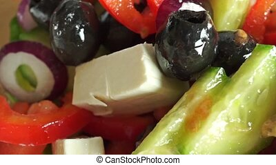 Fresh Greek salad macro dolly shot