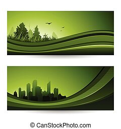Fresh green abstract nature banner with trees and cityscape