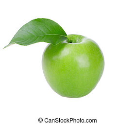 Fresh green apple with leaf