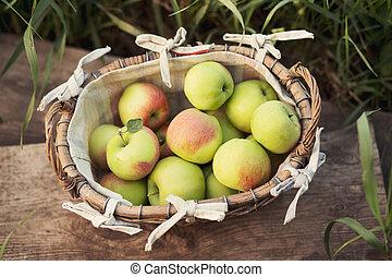 Fresh green apples in a basket