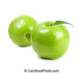 Fresh green apples on white background