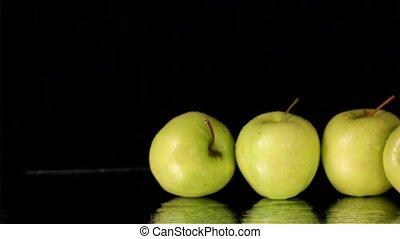 Fresh Green Apples Pan on Black
