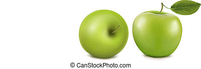 fresh green apples with leaves