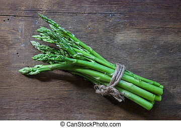 Fresh green asparagus for cooking.
