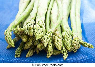 Fresh green asparagus tips