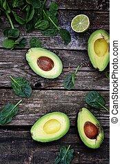 avocado - fresh ,green avocado and spinach