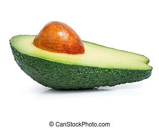 fresh green avocado fruit cut isolated on white