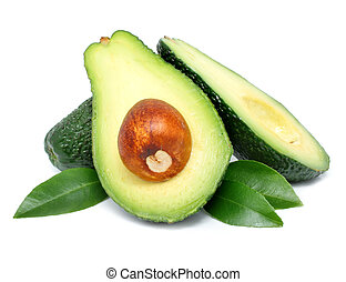 avocado fruits cut with leaf isolated on white - fresh green...