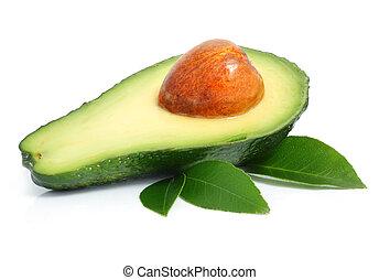 avocado fruits cut with leaf