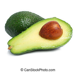 fresh green avocado fruits isolated on white
