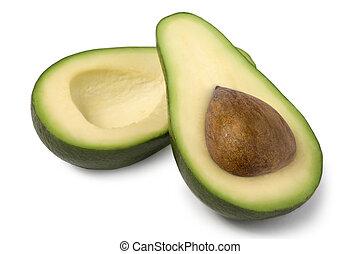 Fresh Green Avocado Isolated on White Background