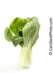 Fresh green baby bok choy, on white background
