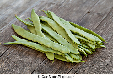 Fresh Green Beans On White Background
