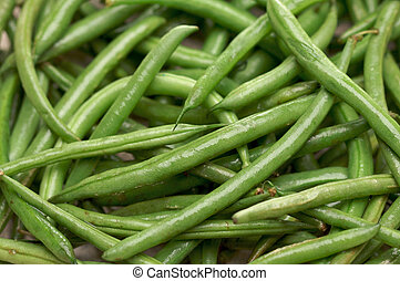 Fresh Green Beans Background Moist with Water.