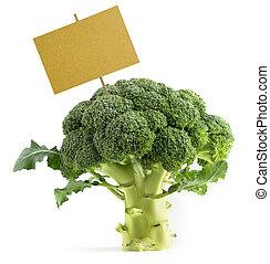 broccoli with a blank placard - fresh green broccoli with a...