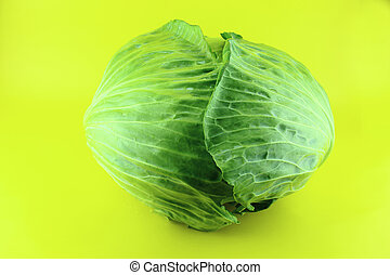 Fresh green cabbage on yellow background .
