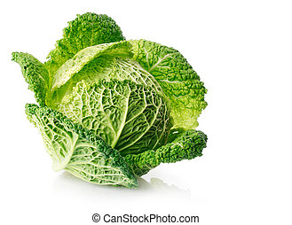 fresh green cabbage fruit isolated on white