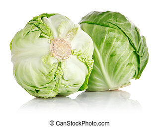fresh green cabbage fruit isolated on white background