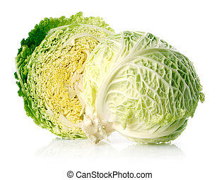 fresh green cabbage fruit with cut isolated on white
