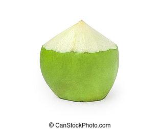 Fresh green coconut fruit on white background