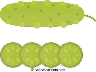Fresh green cucumber cut sliced cooking illustration in modern flat vector style.