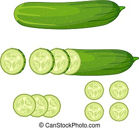 Fresh green cucumber slice on white background. vector...