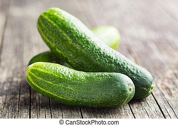 Fresh green cucumbers.