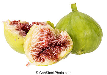 Fresh green figs isolated on white background, close up. Food photo.