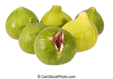 Fresh green figs isolated on white background, close up