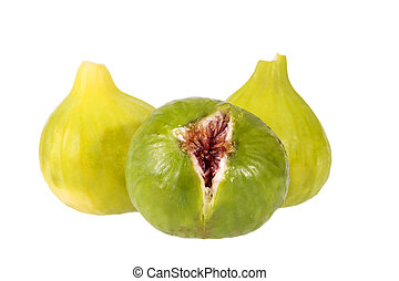 Fresh green figs isolated on white background, close up. Food photo
