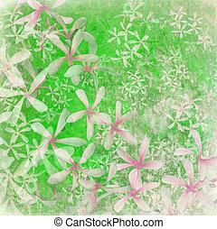 Fresh green flower textured art